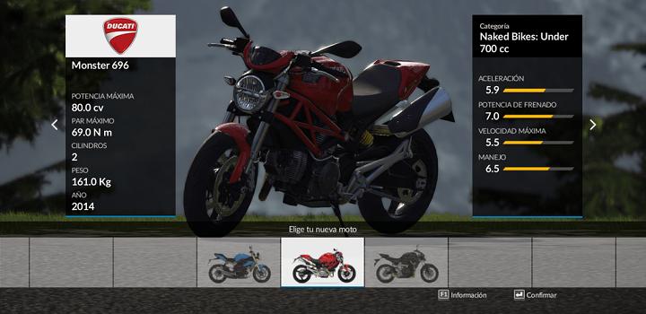 Ride seleccionar moto