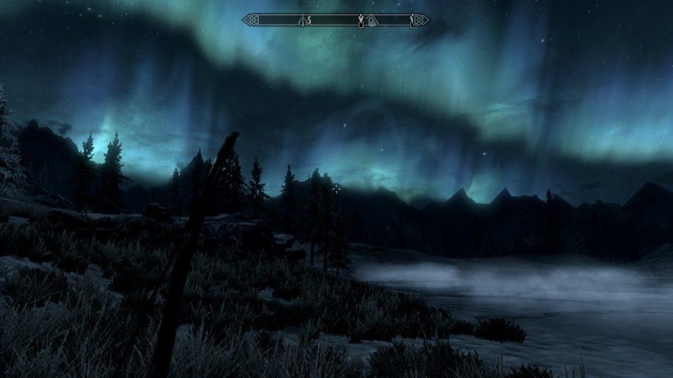 Aurora boreal en Skyrim